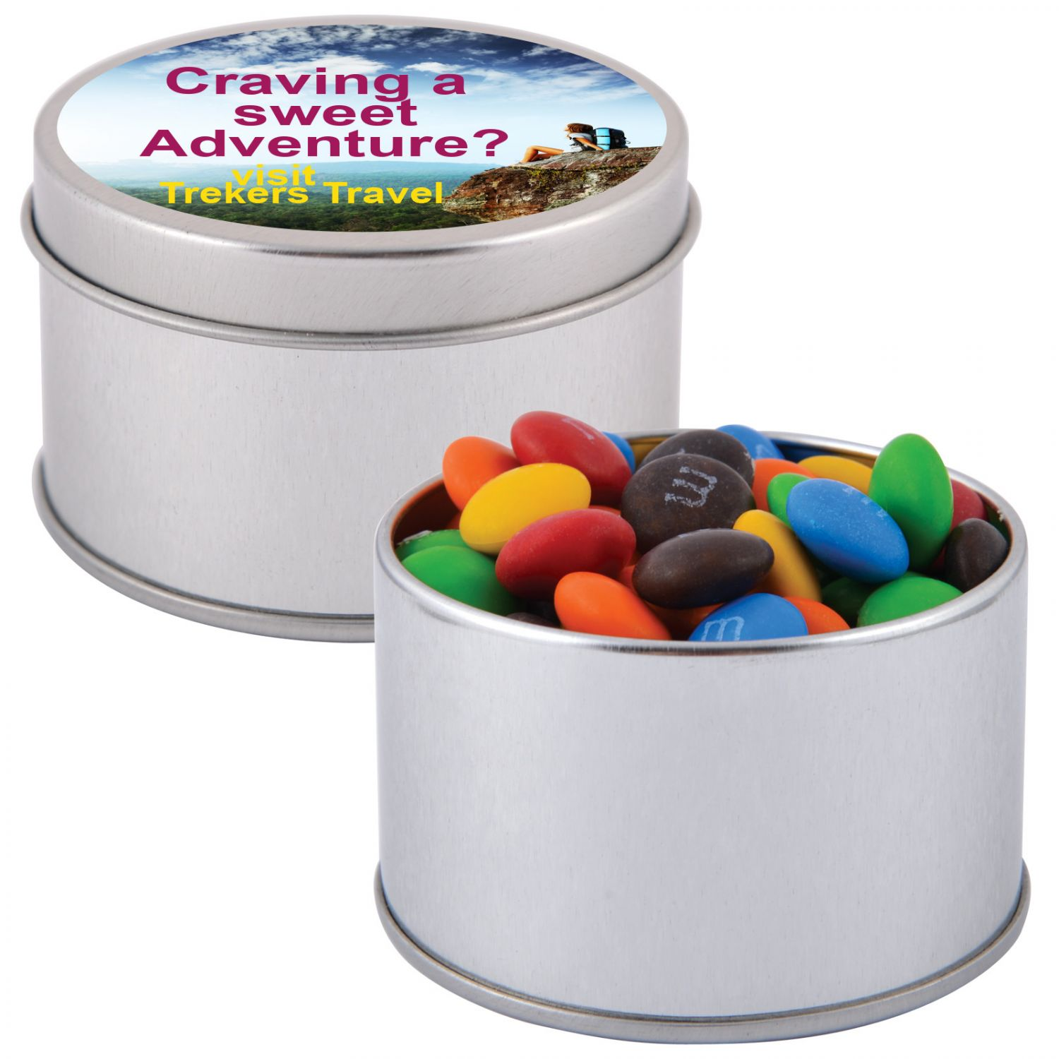 M&M\'s in Silver Round Tin