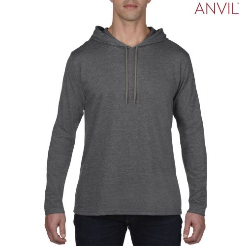 Anvil Adults Lightweight Long Sleeve Hooded T-Shirt