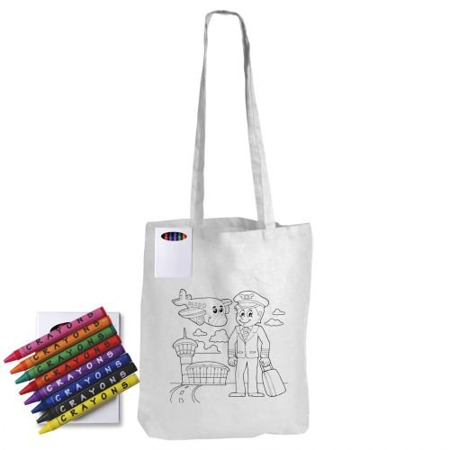 Colouring Long Handle Cotton Bag with Crayons