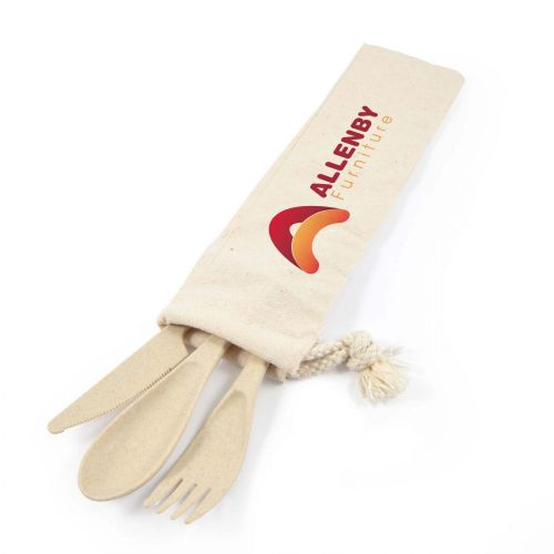 Delish Eco Cutlery Set in Calico Pouch